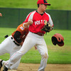 Rowley: Legion Post 150 second baseman Josh Creamer forces a Lynnfield player, and his helmet, out at second. Bryan Eaton/Staff Photo