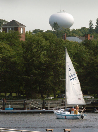 Newburyport: A sailboat on Newburyport's waterfront contends with a northeast wind and incoming tide on Monday afternoon. Photo  was taken under the Gillis Bridge from the rail trail connector. Bryan Eaton/Staff Photo