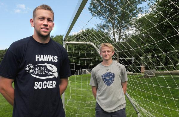Newburyport: Newburyport Varsity Soccer summer league coach AJ MacDougall with player Adam Trexler. Bryan Eaton/Staff Photo