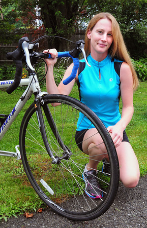 Amesbury: Lauretta Bailin is riding in the Pan-Mass Challenge for Amesbury 10-year-old Marisa Metcalf, a cancer survivor also from Amesbury. Bryan Eaton/Staff Photo