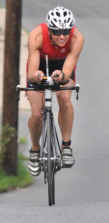 Amesbury:  Dam Triathlon winner Shaina Damm of Amesbury Saturday morning in Amesbury. Jim Vaiknoras/staff photo