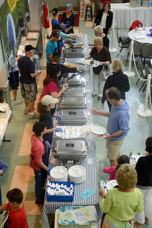 newburyport:People line up to fill their plates at the Greek Food Festival at Annunciation Church in Newburyport Friday. Jim Vaiknoras/staff photo
