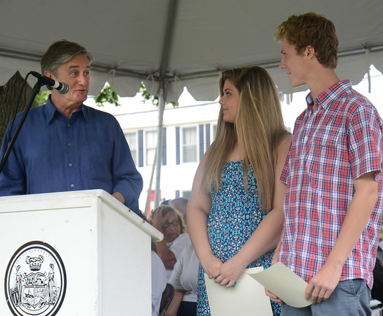 Newburyport:Congressman John Tierney speaks about Youth Service Award Winners Taylor Smith and John Pezzella to at Old Fashioned Sunday.