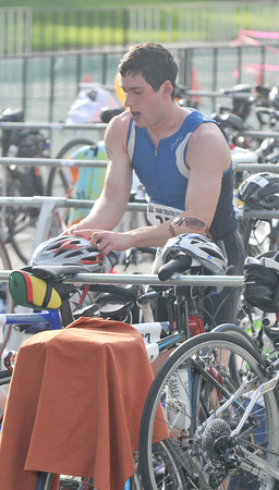 Amesbury: VJames Farber get ready for the cycling leg during the Dam Triathlon Saturday morning in Amesbury. Jim Vaiknoras/staff photo