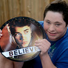 newburyport: Jared Bedard with a record he got at the Justin Beiber concert Saturday night. Jim Vaiknoras/staff photo