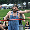 Newburyport: Atlantic Pro Wrestler Scufflin Hillbilly Cousin Larry asks for a clarification of a rule during his tag team match at Old Fashioned Sunday. Jim Vaiknoras/staff photo