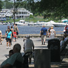 Newburyport: People stroll on the boardwalk in Market Landing Park in Newburyport on a hot 4th of July afternoon. Jim Vaiknoras/staff photo