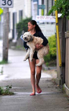 newburyport: Alina Ryan carries her dog Cooper through the rain on Water Street in Newburyport Thursday afternoon. She was on her way to lacross practice and forgot Cooper leash so she had to carry him. Jim Vaiknoras/staff photo