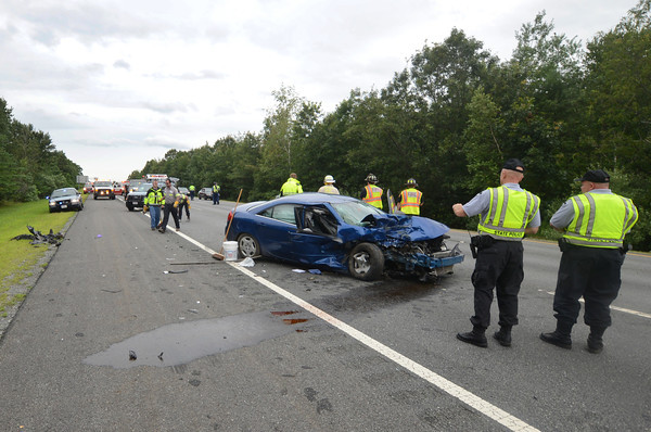 Amesbury: Emergency response personal at a multicar accident on rt 495 north in Amesbury Friday afternoon. Jim Vaiknoras/staff photo