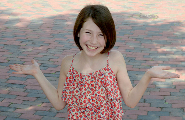 JIM VAIKNORAS/Staff photo Actress Carly Gendell poses in Market Square in Newburyport. She is corently in the cast of School of Rock on Broadway.