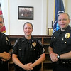 "JIM SULLIVAN/Staff Photo.""Amesbury Police Lt/Executive Officer William Scholtz, Sgt. Lauren Tirone and Lt/Detective Craig Bailey at their advancement ceremony last Thursday."