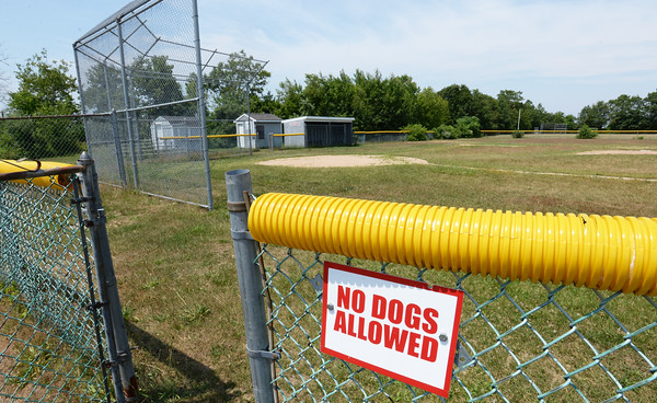 BRYAN EATON/Staff photo. There have been complaints about dog waste left behind in various parts of Salisbury including the ball field here on Beach Road and along the railtrails.