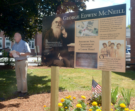 JIM VAIKNORAS/staff photo  Roger McNeill speaks at the dedication of a informational board honoring his great great grandfather George Edwin McNeill in Amesbury Saturday morning. George McNeill was a labor activist who in the 1800's, he is concideren teh father of the 8 hour work day.