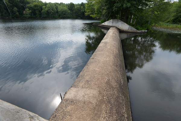 BRYAN EATON/Staff photo. The water level is about a foot below the top of the dam at the Artichoke Reservoir in Newburyport, the source of some of the city's water. The city is suggesting less outdoor watering in place of an outright ban at this point.