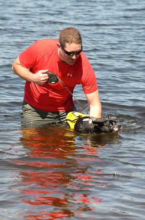 JIM VAIKNORAS/staff photo Owen Corcoran of Amesbury and Ernie take a swim to cool off in Lake Gardner in Amesbury Sunday.