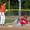 BRYAN EATON/Staff photo. Beverly shortstop #5 waits for the throw as Amesbury's #2 Stanley steals second.