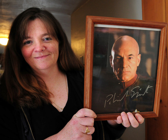 Newburyport: Denise Logan, who's going to a Star Trek convention this weekend, has a photo of Jean-Luc Picard signed by the actor who portrays him, Patrick Stewart. Bryan Eaton/Staff Photo