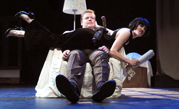 """Newburyport: Conor Moroney and Ashley Risteen in a scene from """"The 39 Steps."""" Bryan Eaton/Staff Photo"""