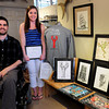 Newburyport: Amesbury native and artist Nate Bibaud has given an art scholarship to Rebecca Warren. His artwork is on display at John Farley Clothiers in Newburyport. Bryan Eaton/Staff Photo