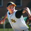North Reading: North Reading pitcher Ryan McAuliffe winds up in action against Newburyport. Bryan Eaton/Staff Photo