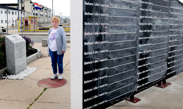 A Salisbury beach art exhibit, where people can write in chalk what they'd like to do before they die, is drawing complaints -- both for the graffiti people are drawing, as well as the fact that they are writing on the USS Thresher memorial. Doris Steinel Fissette stands next to that monument, which is in memory of her husband who died on the vessel 50 years ago, and is upset over some of the obscene graffiti written on the board and pavement and that this one, of two structures, blocks the view of the memorial. Bryan Eaton/Staff Photo