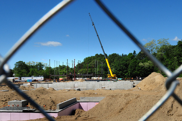 Newburyport: The sports field behind the Bresnahan School in Newburyport is a memory as work is well underway for the new Bresnahan School on the site. Bryan Eaton/Staff Photo