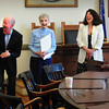 Newburyport: Charlotte McLaughlin gets one of several laughs at Newburyport City Hall by those who were in attendance to honor her 60th year as a poll worker in Ward One. From left, state Rep. Mike Costello, City Clerk Richard Jones, McLaughlin, Mayor Donna Holaday and state Sen. Kathleen O'Connor Ives. Bryan Eaton/Staff Photo