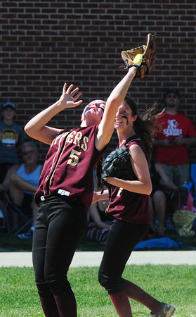 Amesbury: Newburyport's Meghan Stanton catches an Amesbury pop fly on Saturday. Bryan Eaton/Staff Photo