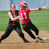 Amesbury: Newburyport's Casey Barlow slaps the tag on Amesbury's Lucy Scholz at second base. Bryan Eaton/Staff Photo