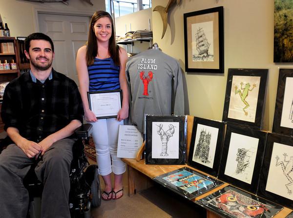 Newburyport: Amesbury native and artist Nate Bibaud has given an art scholarship to Rebecca Warren. His artwork is on display at John Farley Clothiers in Newburyport. Bryan Eaton/Staff Photo