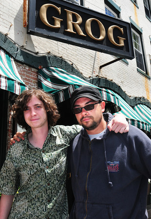"""Newburyport: Buddies Dave Hill, left, and Donald Jarvis are organizing a """"United We Jam"""" fundraiser at the Grog next week to benefit The One Fund. Bryan Eaton/Staff Photo"""