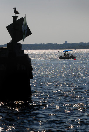 Newburyport: Fisherman sit off Plum Island Point late Saturday afternoon, a seagull at left with his eye on the party boats that just arrived. Bryan Eaton/Staff Photo
