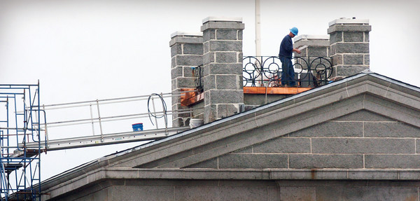Newburyport: New wrought-iron fencing is being installed atop the observatory of the Custom House Maritime Museum, which also had some new roofing installed. The work is part of the 2012 Building Preservation Project which received a grant from the Mass. Preservation Project Fund with additional funding from the Newburyport Community Preservation Committee. Bryan Eaton/Staff Photo