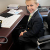 BRYAN EATON/ Staff Photo. Dressed in a tie and jacket Scott Holscher, 7, was principal for a day at Salisbury Elementary School on Monday. He won the honor in a raffle at the Spring Concert and Ice Cream Social.