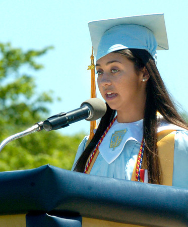 BRYAN EATON/ Staff Photo. Triton valedictorian Nicole Indingaro speaks about the future.