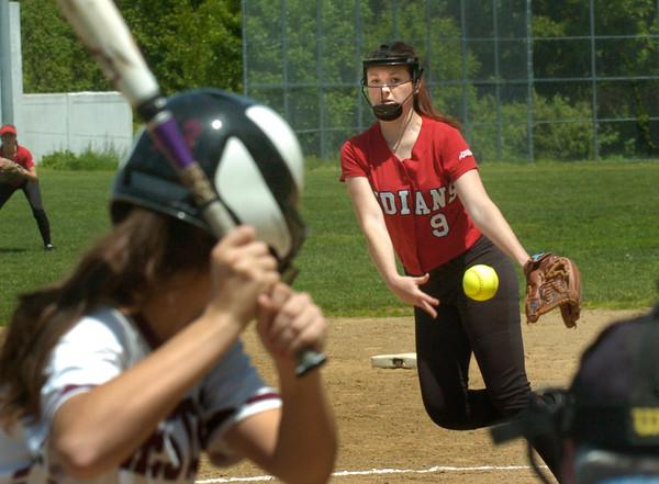BRYAN EATON/ Staff Photo. Amesbury pitcher Rachel Cyr finds her stride.