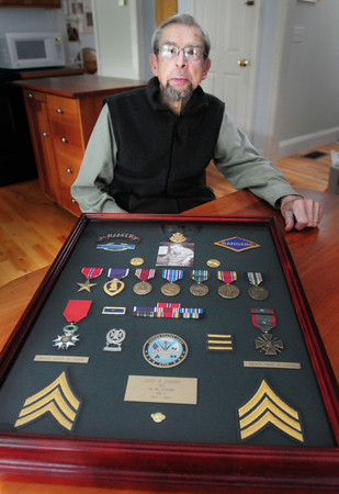 BRYAN EATON/Staff Photo. Army Ranger Sgt. Jim Gabaree, now of Newburyport, was hit by German fire twice on the storming of the beaches at Normandy on D-Day.