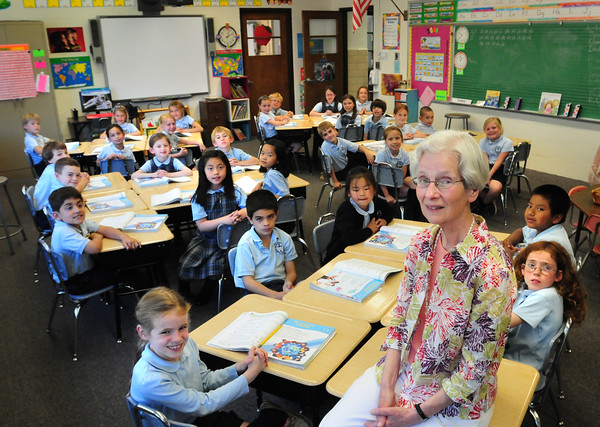 BRYAN EATON/ Staff Photo. Sr. Mary Braley, S.C.N. has been teaching for the past 40 years in this classroom at the Immaculate Conception School in Newburyport. Though she's stepping down as a teacher, she'll stay on as an assistant.