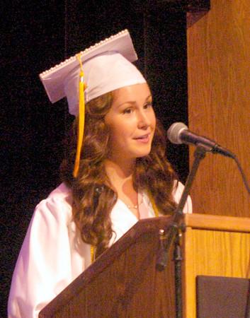 BRYAN EATON/ Staff Photo. Salutatorian Mackenzi Snyder gives her remarks.