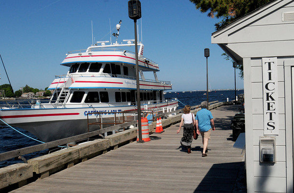 BRYAN EATON/ Staff Photo. The ticket booth on the Newburyport Boardwalk where different commercial crafts dock.