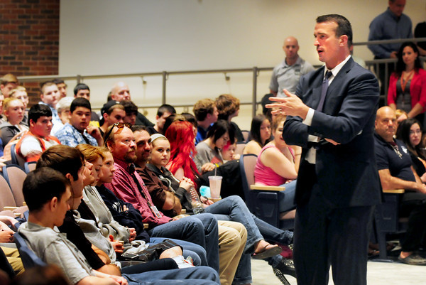 BRYAN EATON/ Staff Photo. Chris Herren, who is a former Boston Celtics player, speaks to students at Amesbury High School about his battle with substance abuse. He now speaks to different organizations and schools and has a basketball school in Rhode Island.