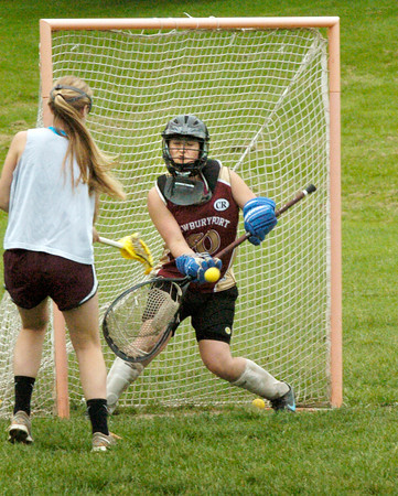 BRYAN EATON/ Staff Photo. Newburyport goalie Izzy Sarra in practice.