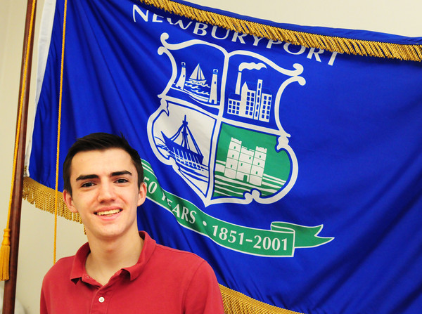 BRYAN EATON/ Staff Photo. College student Alex Bradley is involved with designing a new flag for Newburyport to replace the one created over 30 years ago.