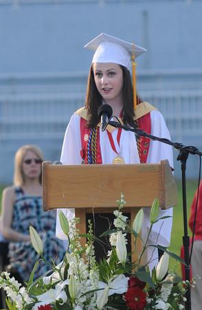 JIM VAIKNORAS/Staff photo Amesbury class Salutatorian Emily Pugh speaks during graduation at Landry Stadium.