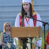 JIM VAIKNORAS/Staff photo Amesbury class Salutatorian Emily Pugh speaks during graduation at Landry Stadium.