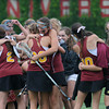 JIM VAIKNORAS/Staff photo Newburyport girls lacrosse team celebrates their state championship. The Clipper defeated Bromfield 7-6 to win the title at BU Saturday.
