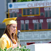 JIM VAIKNORAS/Staff photo Newburyport high Valedictorian Kelly Conway speaks at graduation Sunday at War Memorial Stadium.