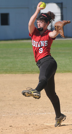 JIM VAIKNORAS/Staff photo Amesbury's Rachel Cyr pitches in the Indian's  game against Notre Dame at Amesbury Middle School Tuesday.