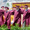 "JIM VAIKNORAS/Staff photo Newburyport high graduates sing the school song ""Alma Mater"" Sunday at War Memorial Stadium."