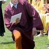 JIM VAIKNORAS/Staff photo Newburyport high graduate Edward Jordan does a little dance after getting his diploma Sunday at War Memorial Stadium.